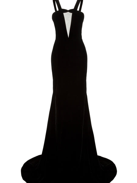 Alex Perry Kane Sheer Front Strap Gown Dress