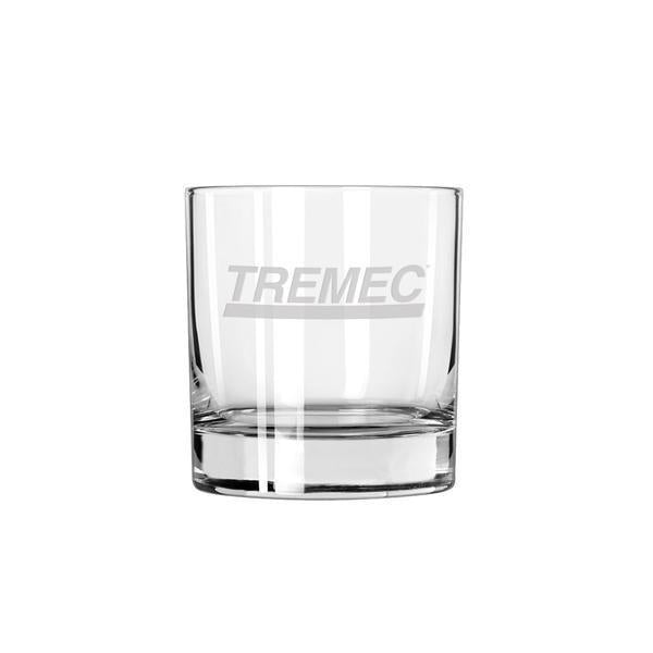 11oz rocks glass with the TREMEC logo