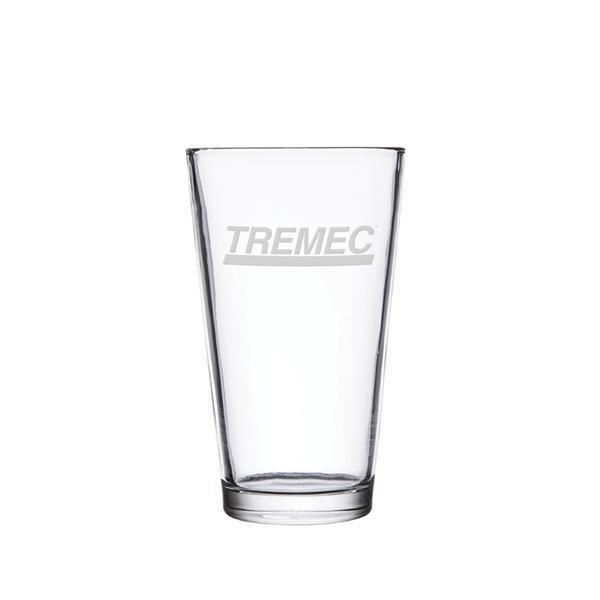 14oz pint glass with the TREMEC logo