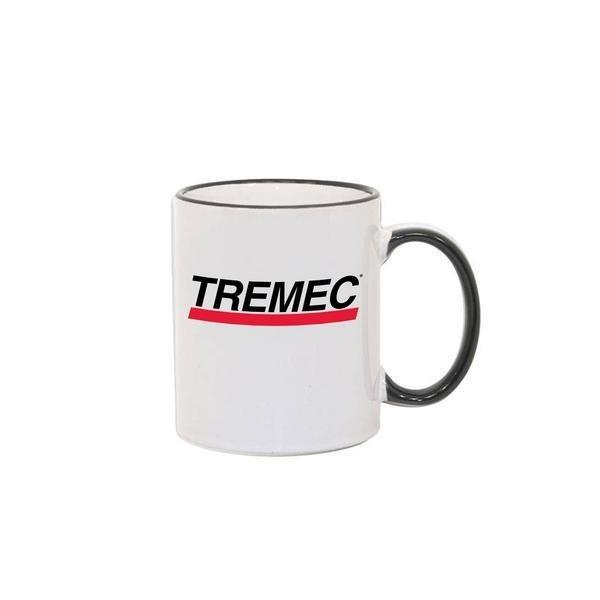 11oz coffee mug with black handle and rim with TREMEC logo on front