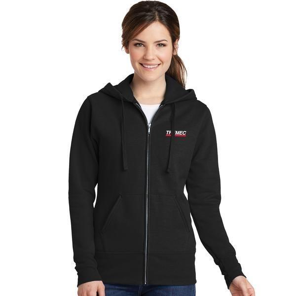 Ladies Core Fleece Zip-Up Hoodie in Black with TREMEC logo on left chest