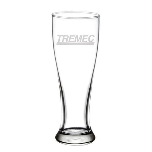 16oz tall pilsner glass with TREMEC logo on front