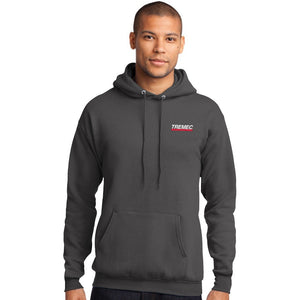 Men's Hooded Pullover Sweatshirt charcoal with TREMEC logo on left chest
