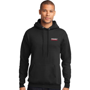 Men's Hooded Pullover Sweatshirt black with TREMEC logo on left chest