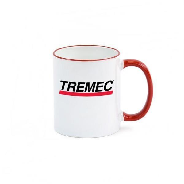 11 oz Ceramic Mug with Red Colored Rim & Handle and TREMEC logo on front