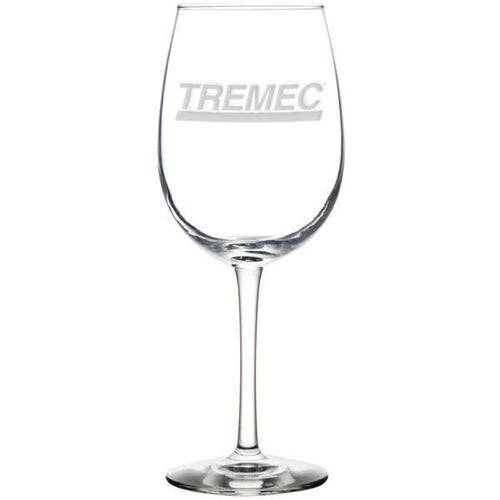16 oz White Wine Glass with TREMEC logo on front