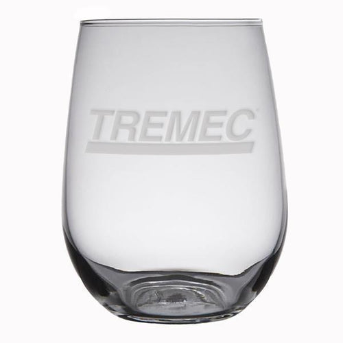 17 oz Stemless White Wine Glass with TREMEC logo on front