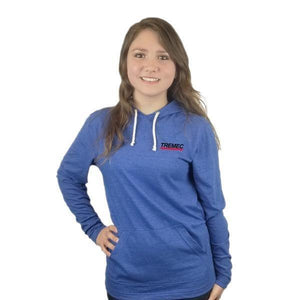 Unisex Tri-Blend Hoodie royal blue with TREMEC logo on front