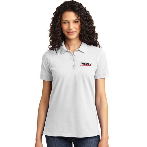 Ladies White Polo with TREMEC logo on left chest
