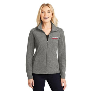 Ladies' Heather Full Zip Microfleece in Pearl Grey with TREMEC logo on left chest