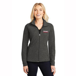 Ladies' Heather Full Zip Microfleece in Black Charcoal with TREMEC logo on left chest
