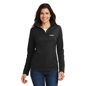 Women's Pinpoint Mesh Pullover with ½-Zip (Red, Black)