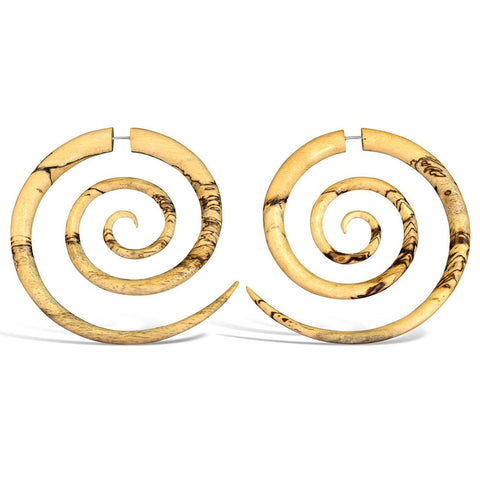 Wooden Spiral Earrings