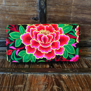 Red & Pink Floral Embroidered Wallet