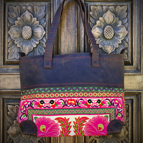 Embroidered Leather Tote Bag