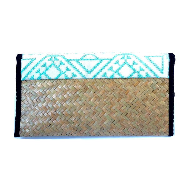 Natural Rattan Baby Blue Clutch