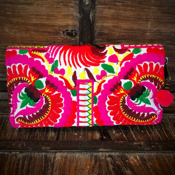 Fuchsia Floral Embroidered Wallet