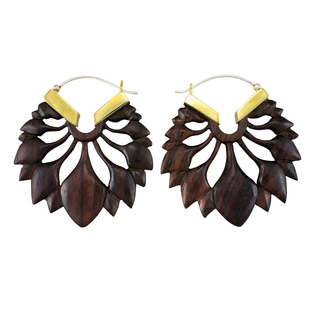 Wooden Lotus Earrings