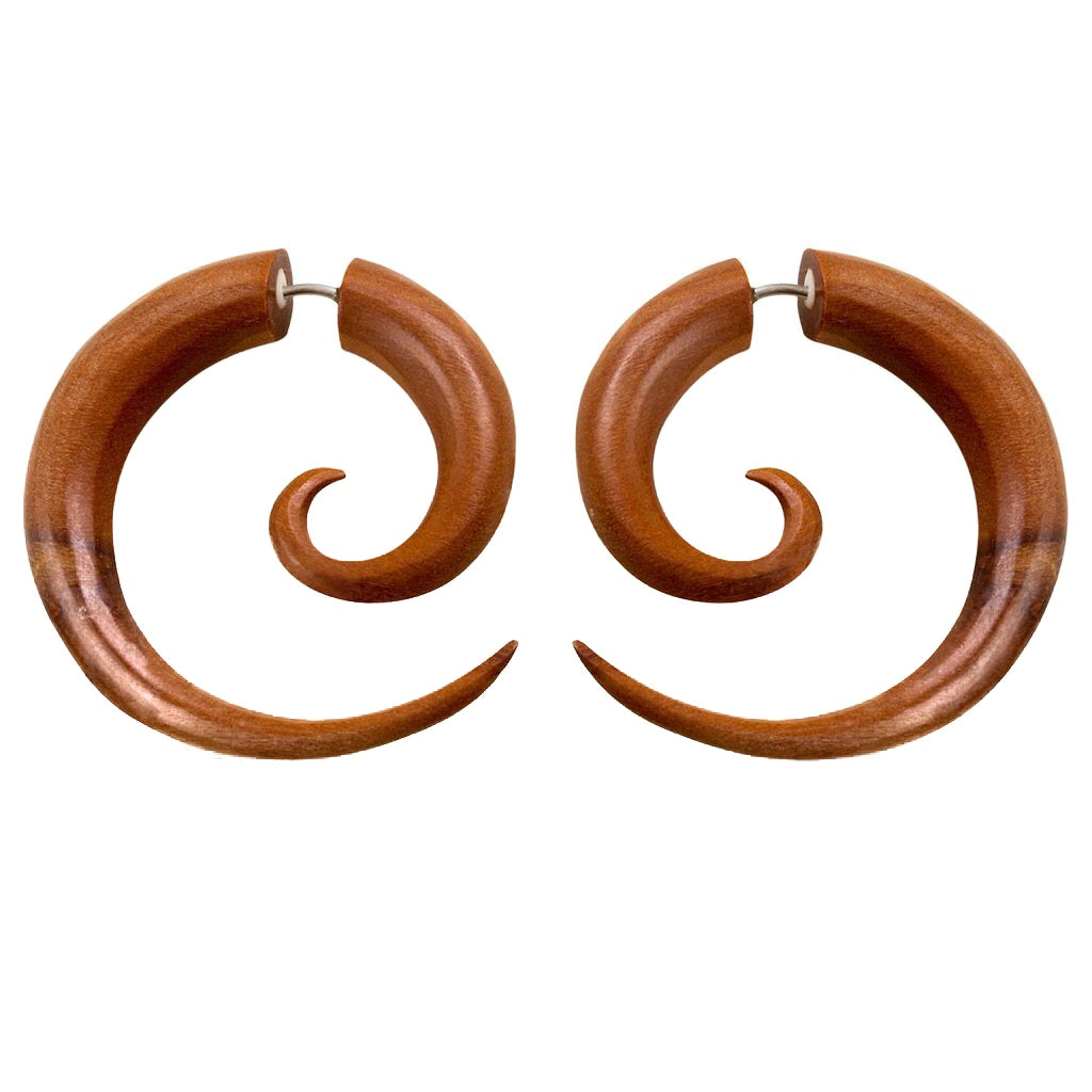 Sabo Wood Spiral Earrings