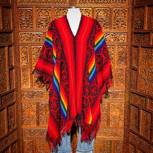 Red and Rainbow Striped Peruvian Poncho
