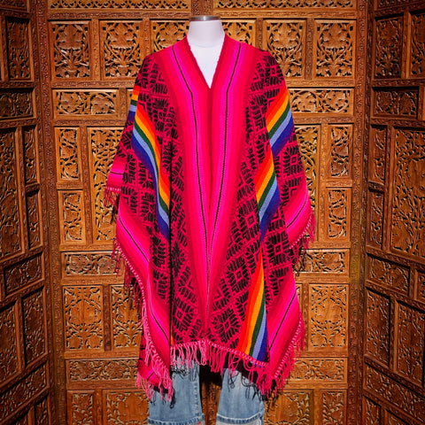 Pink & Rainbow Striped Peruvian Poncho