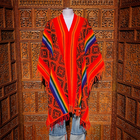 Orange and Rainbow Striped Peruvian Poncho