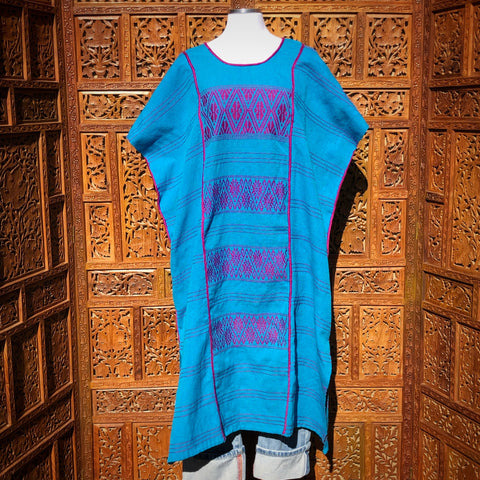 Turquoise & Violet Huipil Dress