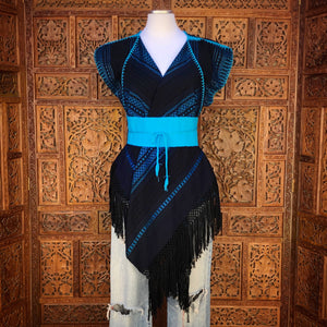Black & blue chaleco blouse vest with belt
