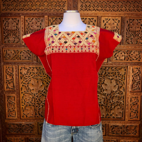 Red Sleeveless Huipil Blouse