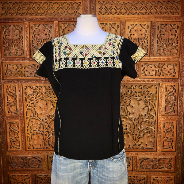 Black Sleeveless Huipil Blouse