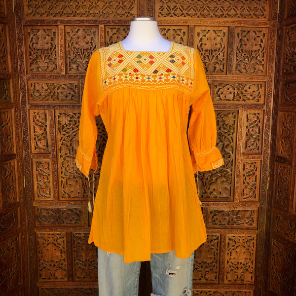 Yellow Three Quarter Sleeve Huipil Blouse
