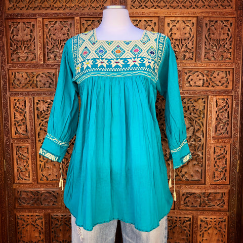 Teal Three Quarter Sleeve Huipil Blouse