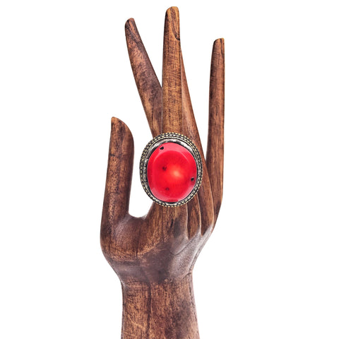 Red Coral Tibetan Ring for your bohemian gypsy soul
