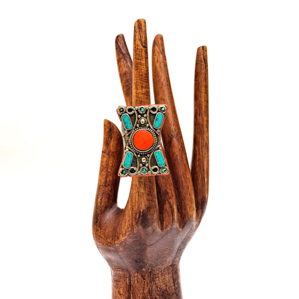Turquoise & Red Coral Tibetan Ring