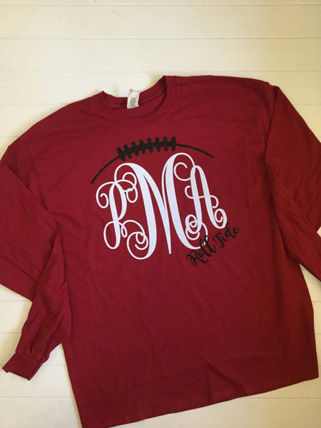 Roll Tide Long Sleeve Tee, Roll Tide Football Tee with Monogram, Glitter, Monogram