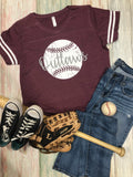 Vintage Ball Design, Any Team Name, striped sleeve Tee, Baseball, Vintage Tee, Adult or Youth Sizes Available, customizable