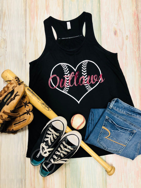 Outlaws Baseball Tank, Any Team Name,  Heart, Ladies Flowy Racerback Tank