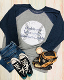 Nights are better under stadium lights, Baseball, Raglan, Baseball Tee, Baseball Mom, Women's Baseball