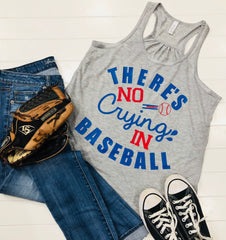 There's No Crying In Baseball, BaseBall Mom Tank, Baseball, Ladies Flowy Racerback Tank