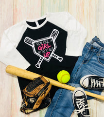 Run like a Girl Try to keep up, Girls Softball Tee, Youth Baseball Shirt, Youth Raglan