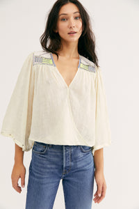 Free People Size X- Small Cream Top