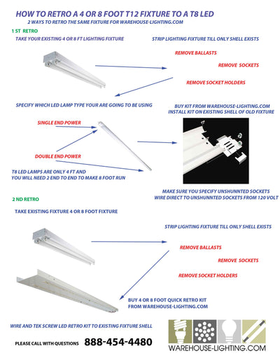 Convert t12 4 and 8 foot fixtures to LED lamps or retro kits