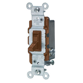 Three Way Toggle Switch, 15 Amp, 120 Volt, Brown