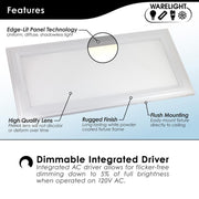 1 X 2 Foot Integrated LED Panel, 25W, 120V, 2500 Lumens, Surface Mount