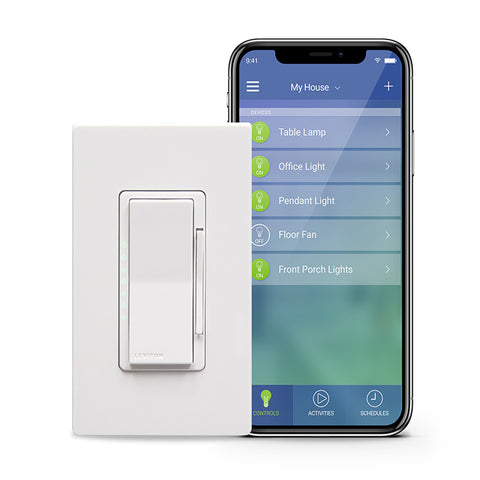 Leviton Decora Smart Wi-Fi 1000W Universal LED/Incandescent Dimmer. Works with Amazon Alexa and Google Assistant, No Hub Required.