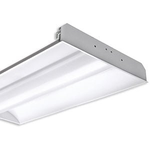 LED 2'x4' Recessed Direct/Indirect Troffer, LED T8 Tube Ready (2 lamps), Single End Power