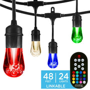 Color Changing Vintage LED String Lights, 24 Bulbs, 48 Ft. Black or White Cord, Linkable  - Image #2