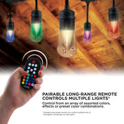 Color Changing Vintage LED String Lights, 24 Bulbs, 48 Ft. Black or White Cord, Linkable  - Image #6