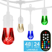 Color Changing Vintage LED String Lights, 24 Bulbs, 48 Ft. Black or White Cord, Linkable  - Image #1