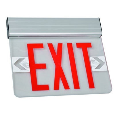 Surface Mount Edge Lit Exit Sign Double Sided Legend Red LED Aluminum Housing